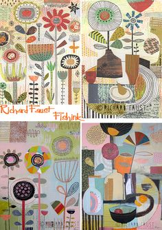 Richard Faust Fun Flights of Illustration Motifs Textiles, Paper Collage Art, Atelier D Art, Art Plastique, Altered Art, Fiber Art, Folk Art, Illustration Art, Illustrations
