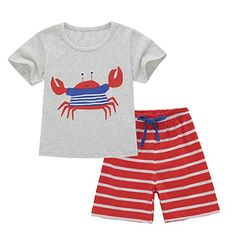 1bfcffe9acec Neeseelily Baby Boys Summer Sleeve Short T-Shirts and Stripe Shorts Shorts  Set Outfit Months