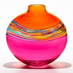 """Flat Transparent Banded Vortex Salmon Florida Cranberry"" --  This amazing art glass vase was created by Michael Trimpol at his 'Little River Hot Glass Studio' in Stowe, Vermont -- http://www.littleriverhotglass.com/wp/michael-trimpol/"