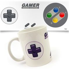 Caneca Joystick Gamer Needs Coffee - pequenasfelicidades Need Coffee, Coffee Cups, Deco Gamer, Great Jokes, Cup Design, Cute Mugs, Personalized Gifts, Tea Pots, Geek Stuff