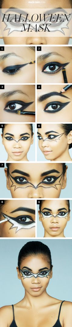 How to Get a Bat Mask Makeup Look for Halloween Like this.