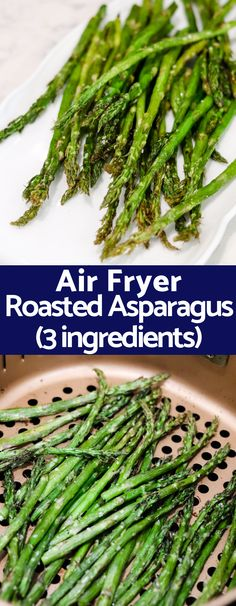 With only 2 ingredients and taking a fraction of the typical time this Air Fryer Roasted Asparagus will be your favorite way to cook asparagus from now on! KETO PALEO vegetarian vegan and pretty much every diet compliant! Ways To Cook Asparagus, Asparagus Recipe, Whole30, Whole Food Recipes, Cooking Recipes, Dinner Recipes, Drink Recipes, Keto Recipes, Healthy Recipes