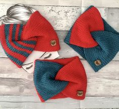 Excited to share this item from my #etsy shop: Handmade Knitted Twisted Turban Ear Warmer Earwarmer Headband Pre-teens Teens Ladies Teal Red #birthday #christmas #bohohippie #red #teal #autumnwinter #turban #addiexpress #earwarmer Addi Express, Red And Teal, Red Blue Green, Leopard Print Hair, Ear Warmer Headband, Acrylic Wool, Ear Warmers, Turban