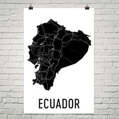 Ecuador Wall Map Print - Modern Map Art