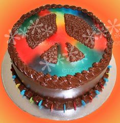 """9"""" round Everyday Cake from Emoticakes.com () Peace Sign Cakes, Birthday Cake, Desserts, Food, Tailgate Desserts, Deserts, Birthday Cakes, Essen, Postres"""