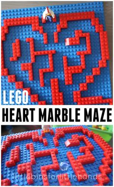 Make this fun heart Lego marble maze game for a building challenge. Explore symmetry and math with a heart Lego marble maze. Lego Toys, Lego Duplo, Lego Wedo, Legos, Lego Maze, Modele Lego, Marble Maze, Lego Challenge, Lego Club