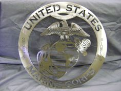 """Metal Sign, Steel Sign """"United States Marine Corp"""" Metal Sign, Military Sign, Wall decor, Metal Art. $35.00, via Etsy."""