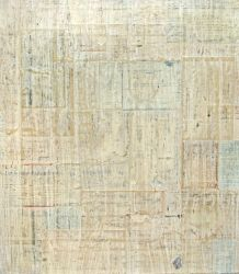 White Washed Reciepts - 2007 - Cecil Touchon - 18x16 inches- collage and paint on canvas