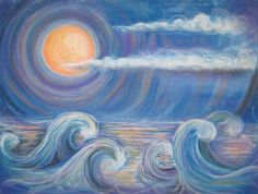 """Waves by Patricia O'Connor, Original Pastel Drawing 19""""x25"""" and Giclee Fine Art Prints of Original"""