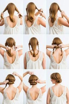 Une idée de coiffure simple en neuf pas,tresses, cheveux roux et longs