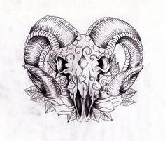 widder tattoo skull