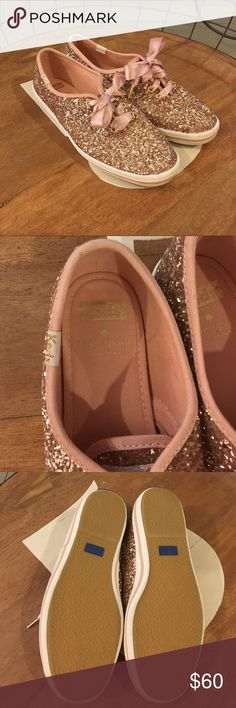 Kate Spade for Keds Rose Gold Glitter shoe Rose gold glitter shoe, worn once, like new condition. kate spade Shoes Sneakers