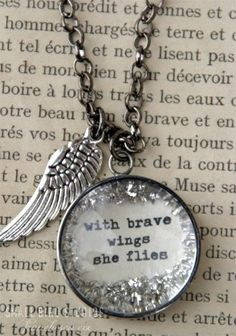 with brave wings she flies necklace.reminds of a very brave lady who went to be with Jesus! Diy Jewelry, Jewelry Box, Jewelry Accessories, Jewelry Making, Resin Jewlery, Vintage Jewelry, The Bling Ring, Bling Bling, Silvester Make Up