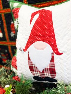 "Crafts I love ""GNOME"" for the Holidays Pillow Kit - My Girlfriends Quilt Shoppe Christmas Pillow, Christmas Signs, Christmas Pictures, Christmas Crafts, Christmas Ornaments, Christmas Ideas, Christmas Goodies, Silver Christmas Decorations, Teenage Girl Gifts Christmas"