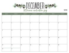 Printable December 2018 Calendar Calendar 2018 Pinterest