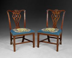 645a7111fbd8 A rare and important quality pair of Chippendale period carved Mahogany  side chairs