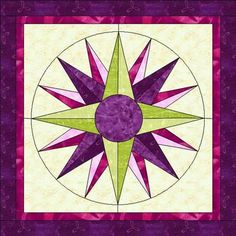 Quilted With Love: Free Paper Pieced Mariner's Compass