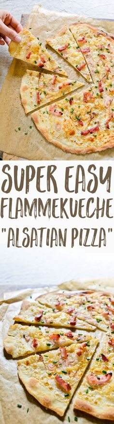 A super easy, authentic, 30-minute recipe for flammekueche, the Alsatian pizza…
