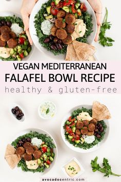 This easy vegan falafel bowl recipe is loaded with your favorite Mediterranean toppings so you can satisfy your Middle Eastern food cravings! Vegan Falafel Recipe, Vegan Bowl Recipes, Greek Recipes, Healthy Recipes, Greek Meals, Vegan Foods, Healthy Habits, Healthy Meals, Healthy Food