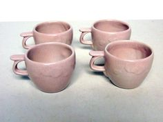 4 RARE MINTY Frankoma Gracetone #20 Pink Champagne ORBIT Cups 3 DAY AUCTION