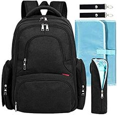 8864a4303 Amazon.com : Big Sale - Baby Diaper Bag Waterproof Travel Diaper Backpack  with Changing Pad and Stroller Clips (Black Dot) : Baby