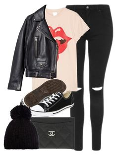 """Untitled #11854"" by vany-alvarado ❤ liked on Polyvore featuring Topshop, MadeWorn, Acne Studios, Chanel, Converse and Barts"