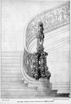 """archimaps: """"Competition design for the banister of a staircase for a royal palace """" Architecture Design, Architecture Mapping, Architecture Concept Drawings, Classical Architecture, Historical Architecture, Old Mansions Interior, Staircase Drawing, Blue Aesthetic Pastel, Fantasy Castle"""