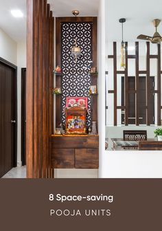 We have curated some modern pooja room designs that can fit into the smallest of spaces. If you are short on space, take a look at these. unit With Mandir Modern Pooja Room Designs For Tight Spaces Living Room Partition Design, Room Partition Designs, Living Room Tv Unit Designs, Modern Tv Cabinet, Kitchen Room Design, Home Room Design, House Design, Temple Design For Home, Mandir Design