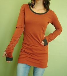tunic top/extra long sleeves w/ thumb holes Rust by joclothing. Love the long sleeves #longenoughformyarms