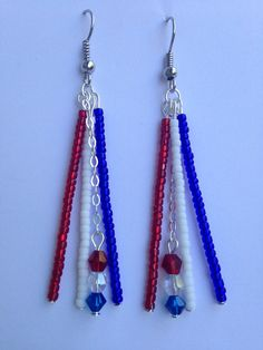 Red, White, and Blue Earrings on Etsy, $12.00