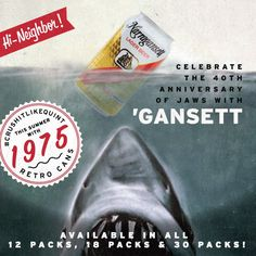 Happy Shark Week! Celebrate with 'Gansett retro cans and Crush it like Quint!