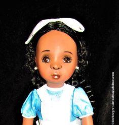Alice in Wonderland Souvenir Doll – DeeBeeGee's Virtual Black Doll Museum™ Doll Museum, Spiral Curls, White Tights, Light Blue Dresses, Black Wig, Collector Dolls, Alice In Wonderland, How To Draw Hands, African