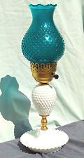 """Vintage Hurricane Lamp Hobnail Milk Glass With Turquoise Hobnail Glass Shade 16"""""""