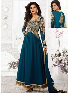 Kriti Sanon Teal Georgette Anarkali Suit