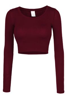 Sizes may run small; please choose a size up. This lightweight long sleeve round neck crop top is perfect for any occasion. You can wear it casually with high waisted denim pants or dress it up with a Cropped Tops, Cute Crop Tops, Long Sleeve Crop Tops, Black Crop Tops, Burgundy Crop Top, Red Long Sleeve Shirt, Long Sleeve Outfits, Red Crop Top, White Tops