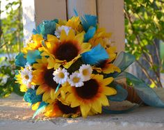 sunflower and teal bouquets for weddings - Google Search