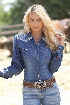 Denim & Lace Button Down Shirt by Cruel Girl - #CowgirlChic #Cowgirls