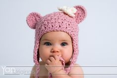 INSTANT DOWNLOAD Crochet Pattern  Buddy Bear Hat with Flower (6 SizesPreemie to Adult ) Permission to sell all finished items
