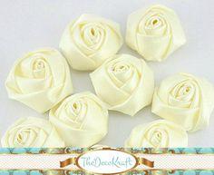 10 Piece IVORY 1.6 inch (4cm) Rolled Satin Ribbon Rose Hair Accessory Wedding Bouquet DIY (TDKHR1100)