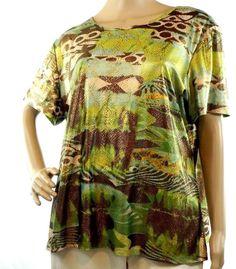 Nygard Women's Size XL Multi-Color Print Stretch Short Sleeve Top Shirt EUC…