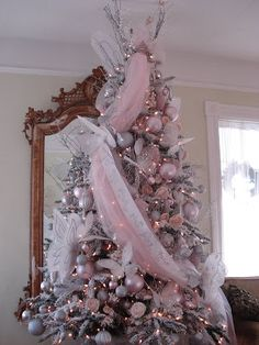 Description: French Beauty Mark: Sugar Plum Fairy Christmas Tree is . Shabby Chic Christmas, Christmas Fairy, Silver Christmas, Victorian Christmas, Christmas Lunch, Nutcracker Christmas, Vintage Christmas, Christmas Time, Rose Gold Christmas Decorations