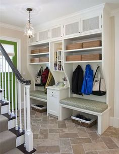 Mud Room Entry Design Ideas, Pictures, Remodel, and Decor - page 3 Interior Exterior, Home Interior, Interior Ideas, Interior Inspiration, Interior Design, Mudroom Laundry Room, Mudroom Cubbies, Modern Colonial, Home And Deco