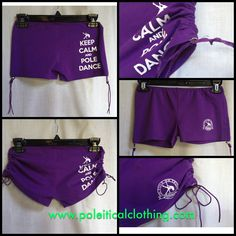 Our KEEP CALM AND POLE DANCE Perfect Pole Shorts in Purple! $22 + shipping (worldwide shipping available). Comfortable, breathable, with adjustable sides that allow you to be modest or a little cheeky! Excellent overall coverage! Available in sizes XS through XL (US sizing) Shop the entire Poleitical Clothing collection at www.etsy.com/shop/poleiticalclothing