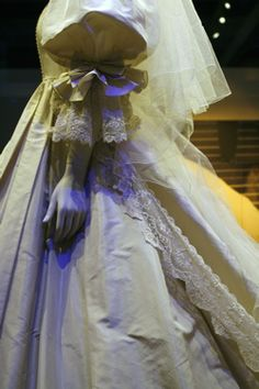 July 29, 1981: Prince Charles marries Lady Diana Spencer in Saint Paul's Cathedral. Princess Diana wedding dress close up