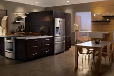 Kitchen Design inspiration: Euro-Style design, stainless steel appliances, and a great view!