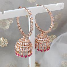 Jhumki Earrings, Cubic Zirconia Earrings, Dangle Earrings, Jewelry Boards, Ruby Stone, Silver Hoops, Different Colors, Dangles, Rose Gold