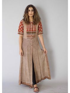"""Description: It is a cotton block printed tunic with front button down. Length is 54"""" Size Chart - XS - Chest : 32.5, Waist : 26, Hip : 35, Shoulder : 14, Armh"""