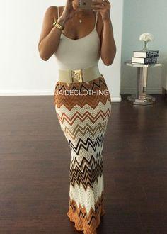 JAIDE EXCLUSIVE Orange ZigZag Maxi Skirt