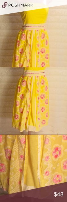 CYNTHIA STEFFE sunny and sweet! Will absolutely put sunshine in your step!! 100% cotton embroidered and lace fully lined. You will love. Bundle and save $$ Cynthia Steffe Dresses Midi