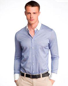 мужская рубашка с контрастным воротником и манжетами